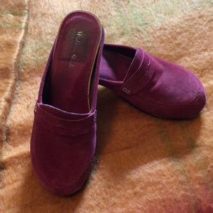 Soft Red Leather/Suede and wooden clogs
